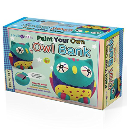 SadoCrafts Paint Your Own Bank - Fun Interactive Educational DIY Ceramic Owl Bank Craft Kit For Kids