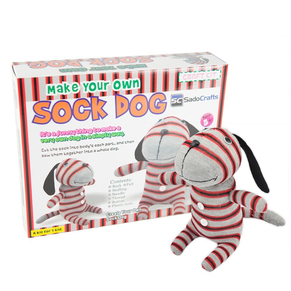 SadoCrafts Sew Your Own Stuffed Animal - DIY Dog Sock Doll Sewing Craft Kit for Kids